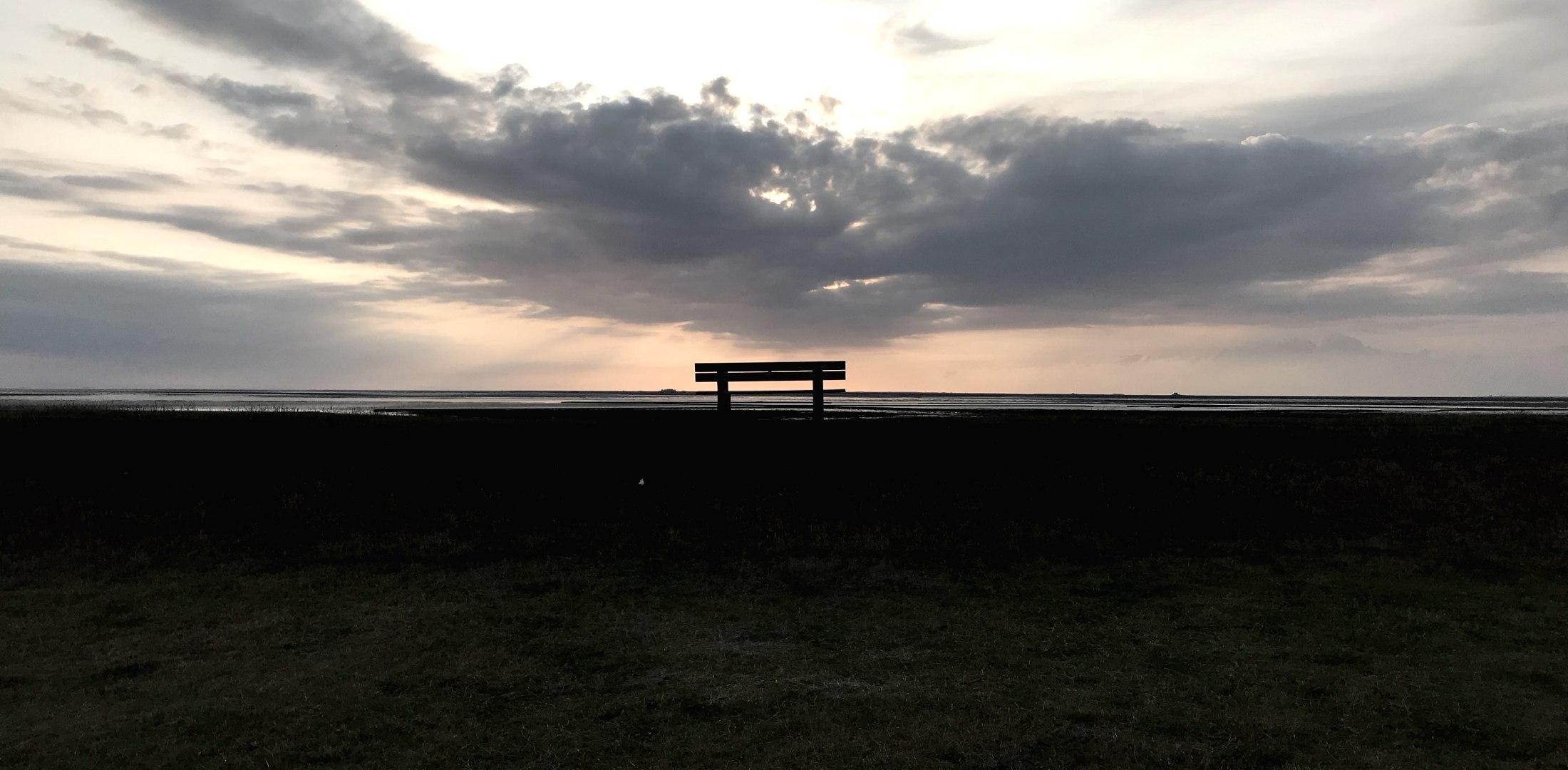 Bank Beltringharder Koog Sonnenuntergang, © BA
